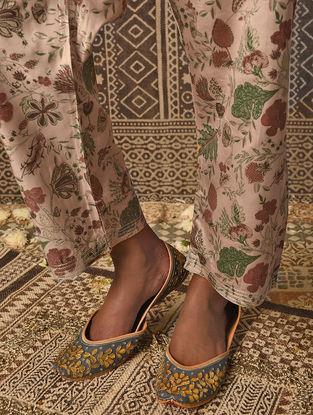 Beige Tie-up Waist Khari Printed Satin Modal Pants