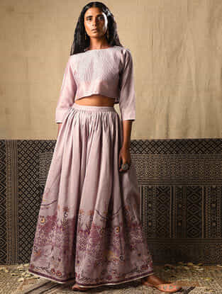 Lilac Chanderi Blouse with Pintucks