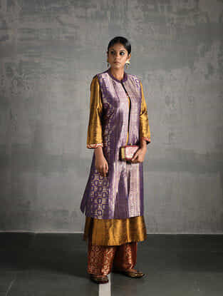 Purple Vintage Benarasi Silk Brocade Jacket