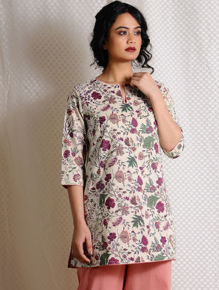Ivory-Pink Printed Cotton Tunic