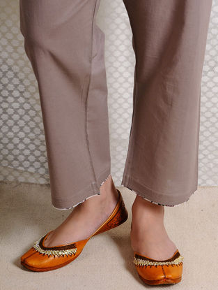 Brown Tie-up Waist Cotton Pants