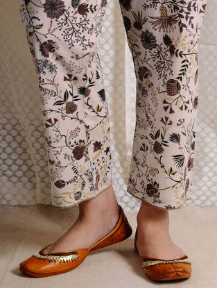 Ivory-Brown Tie-up Waist Printed Cotton Pants