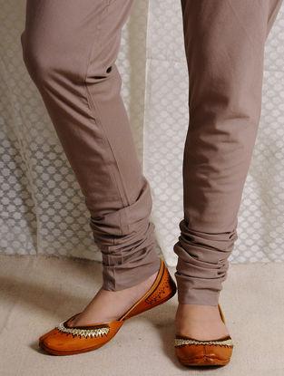 Brown Elasticated-waist Cotton Churidar