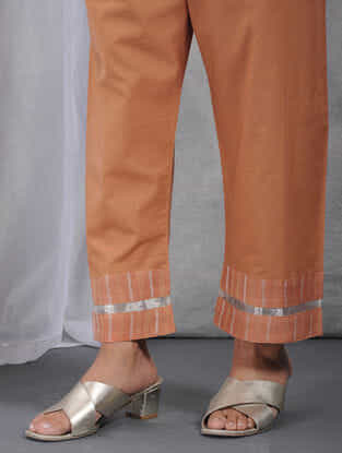 Peach Tie-up Waist Cotton Pants with Tissue