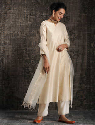 Ivory Tussar Munga Silk Kurta with Embellishment