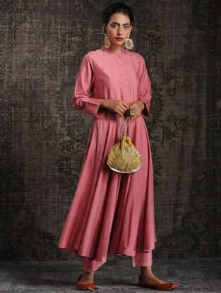Pink Tussar Munga Silk Kurta with Embellishment