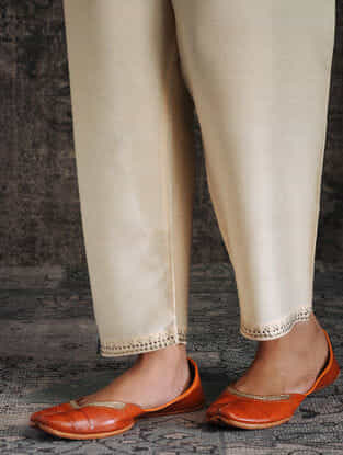 Ivory Tie-up Waist Tussar Munga Silk Pants with Embellishment