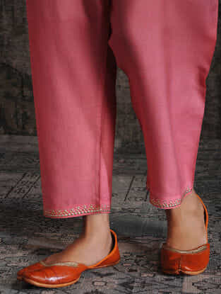 Pink Tie-up Waist Tussar Munga Silk Pants with Embellishment