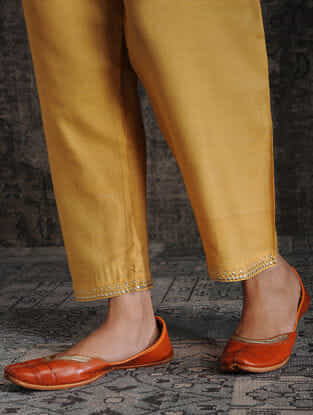 Mustard Tie-up Waist Tussar Munga Silk Pants with Embellishment