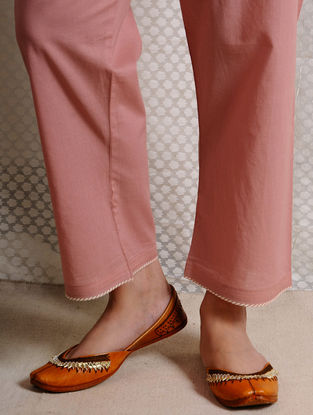 Pink Tie-up Waist Cotton Pants