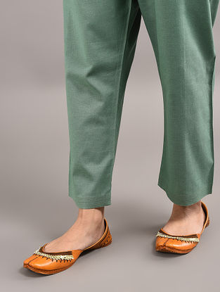 Green Tie-up Wait Cotton Pants