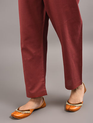 Maroon Tie-up Wait Cotton Pants