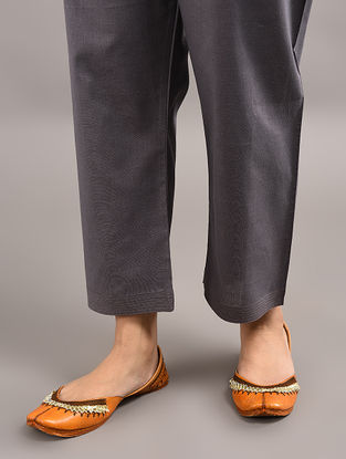 Grey Tie-up Wait Cotton Pants