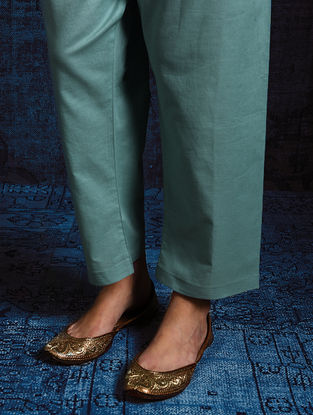 Green Tie-up Waist Cotton Pants