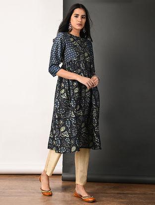 Indigo Ajrakh-printed Silk Cotton Kurta with Gathers