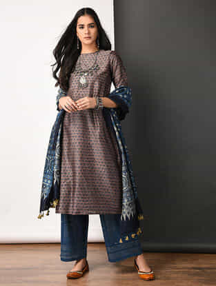 Purple Ajrakh-printed Silk Cotton Kurta with Pleats