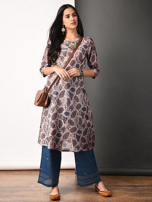 Purple Ajrakh-printed Silk Cotton Kurta