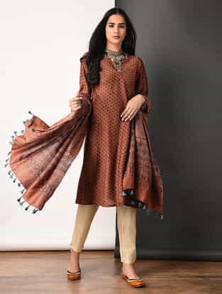 Rust Ajrakh-printed Silk Cotton Kurta