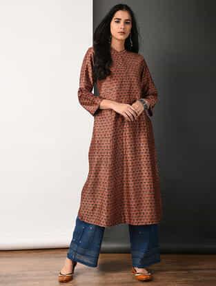 Rust Ajrakh-printed Silk Cotton Kurta with Pleats