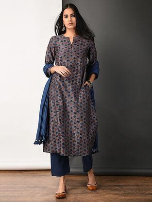 Purple Ajrakh-printed Silk Cotton Kurta with Pockets