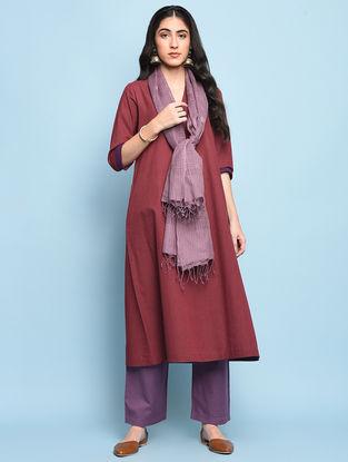 Maroon Mangalgiri Cotton Kurta with Pockets