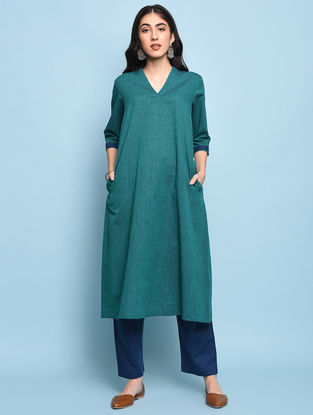 Green Mangalgiri Cotton Kurta with Pockets