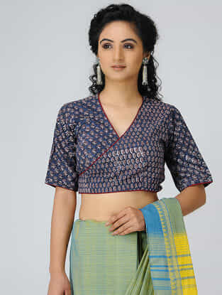 Indigo-Madder Block-printed Cotton Blouse