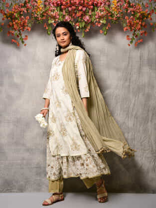 Ivory-Beige Printed Cotton Double layer Kurta with Tassels