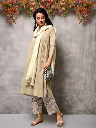 Beige Cotton Kurta with Gathers