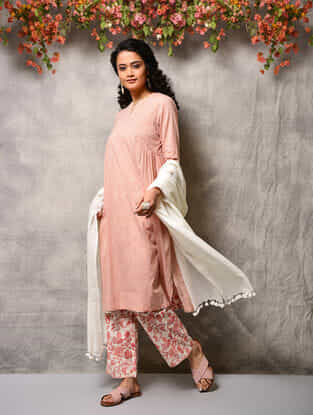 Pink Cotton Kurta with Gathers