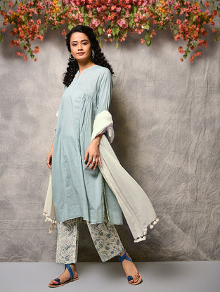 Blue Cotton Kurta with Gathers