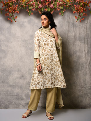 Ivory-Beige Printed Cotton Kurta