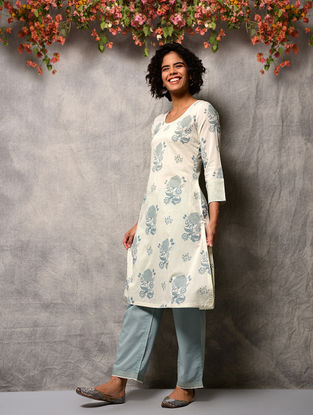 Ivory-Blue Printed Cotton Kurta