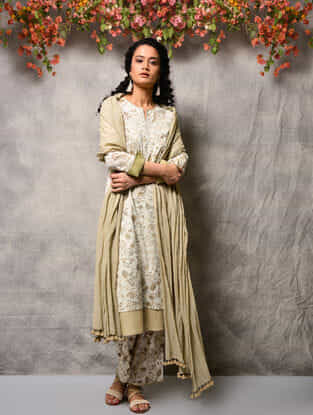 Ivory-Beige Printed Cotton Double layer Kurta