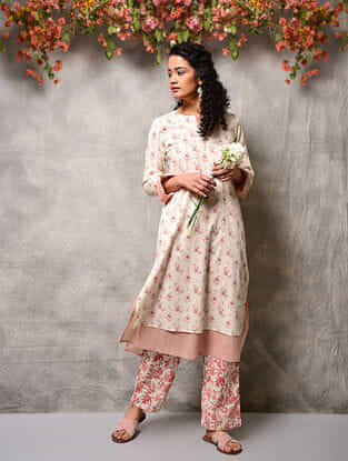 Ivory-Pink Printed Cotton Double layer Kurta