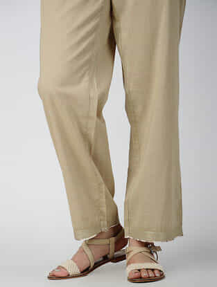 Beige Tie-up Waist Cotton Pants