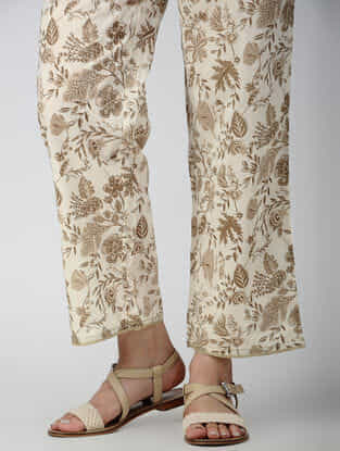 Ivory-Beige Elasticated-waist Printed Cotton Pants