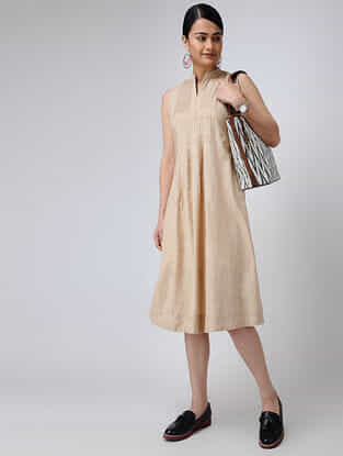 Beige Cotton Slub Dress with Pintucks