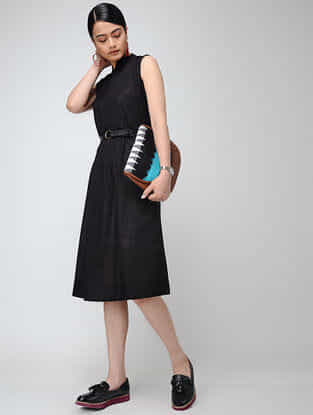 Black Cotton Slub Dress with Pintucks