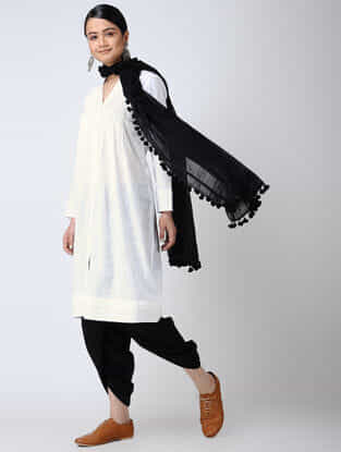 White Front-open Cotton Slub Kurta with Pintucks