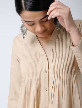 Beige Front-open Cotton Slub Kurta with Pintucks