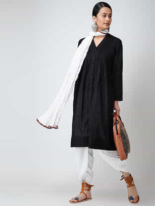 Black Front-open Cotton Slub Kurta with Pintucks