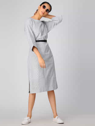 Ivory-Grey Cotton Khadi Dress
