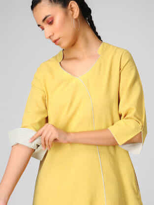 Yellow Cotton Khadi Dress