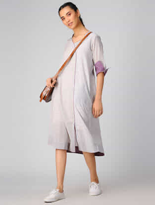 Ivory-Purple Cotton Khadi Dress
