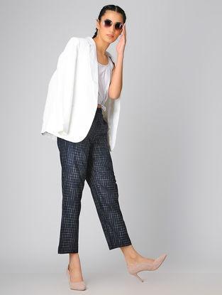 Blue Elasticated-waist Cotton Khadi Palazzo