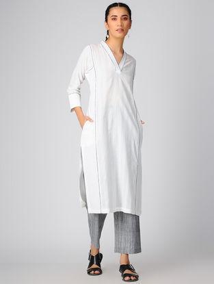 Grey Elasticated-waist Cotton Khadi Palazzo