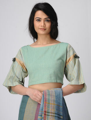 Cyan Handloom Cotton Blouse with Tassels