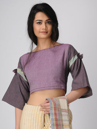 Purple Handloom Cotton Blouse with Tassels