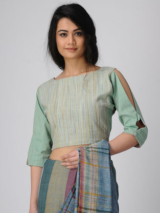 Cyan-Brown Handloom Cotton Blouse